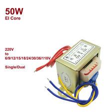 50W Power Transformer EI Core AC 220V to 6/9/12/15/18/24/30/36/110V Single/Dual