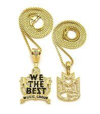 "Hip Hop Fashion Pave MMG, We the Best Pendant 24"", 30"" Box Chain 2 Necklace Set"