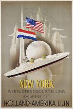 PLAQUE ALU REPRODUISANT UNE AFFICHE NEW YORK HOLLAND AMERIKA LIJN BATEAU PAQUEBO