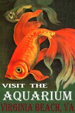 VISIT THE AQUARIUM IN VIRGINIA BEACH GOLDFISH FISH TRAVEL VINTAGE POSTER REPRO