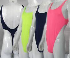 R528 Hot Mens Thong Bodysuit Stretch Sexy Swimsuit High Cut Deep V neck Back