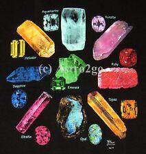 GEM STONES-Rocks Minerals Opal Ruby Topaz Emerald Sapphire Science T shirt S-3XL