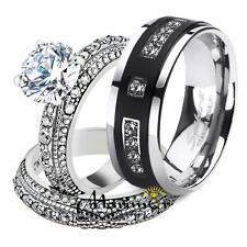 His & Hers Stainless Steel Vintage Bridal Ring Set & Mens Titanium Wedding Band