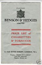 Old Benson & Hedges Price List Cigarettes & Tobacco UK