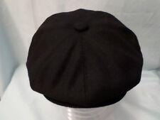 MENS RETRO BLACK 8-PANEL BAKER BOY CAP NEWSBOY CABBY PAPERBOY HAT XXL AVAILABLE