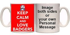 KEEP CALM AND LOVE ANIMALS PERSONALISED MUG & COASTER (AN6) 11oz - 15oz GIFT