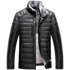Winter Fashion Mens Lerather Fur Collar Short Coats Jackets Zipper British Warm