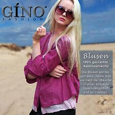 Neu Blusen aus gecrasht Baumwolle (100%),3/4 Arm,button down Kragen,Gino-fashion