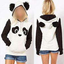 Women's Cute Warm Panda Fleece Pullover Hoodie Sweatshirts Tops Sweater Jumper