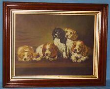 ANTIQUE VICTORIAN WALNUT FRAME w/VINTAGE PRINT DOGS A. HIEBEL GERLACH-BARKLOW