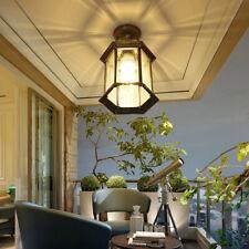 Vintage Brass/Black Clear Glass Metal Lantern Mini Outdoor Patio Ceiling Lights