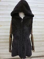 Real Mink Fur   Slim Vest with Cap Zipper Coat jacket  Fashion  Dark brown