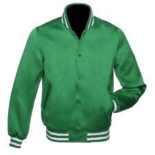 Varsity Letterman Bomber De Satén Verde Chaqueta De Béisbol costilla verde y blanco