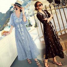 Women Lady Summer Boho Long Maxi Dress Bohemia Embroidery Beach Dresses Sundress