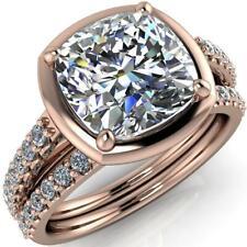 Brilliant 2.50 ct Cushion Cut Diamond Bridal Set Rose Silver