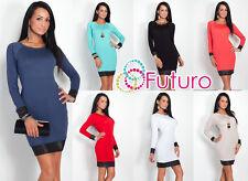 ELEGANT Women's SHIFT dress girocollo manica lunga tunica eco pelle 8093