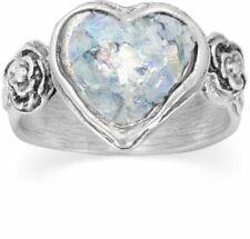 Roman Glass Heart Ring 925 Sterling Silver