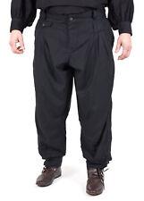 Faltenhose mit geknöpftem Bund, schwarz, Mittelalter Hose Gewandung LARP