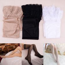 Women Ladies Shiny Lace Ultrathin Stockings Elastic Hold Ups Hosiery Thigh Socks