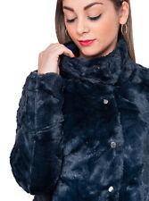 Pelliccia piumino donna invernale casual blu notte pellicciotto giacca elegante