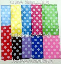 Polka Dot Plastic table Cover Rectangular 54 x 84 Inch Tablecloth - U Pick Color