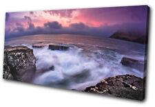 Rocky shore Waves Sunset Seascape SINGLE TOILE murale ART Photo Print