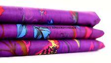 1/2.5 Yard Indian Cotton Purple Handmade Screen Print Bird Floral Printed Fabric