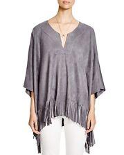Karen Kane L72551 Oversized Gray Supple Faux Suede Fringe Poncho Top - $158