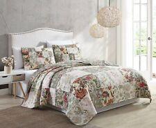 Dawn 3pcs Floral Patchwork Reversible Pre-Washed 100% Cotton Quilt Coverle Set