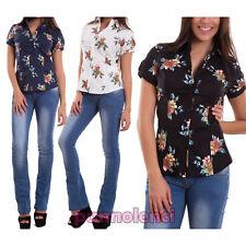 Camicia donna camicetta avvitata fiori maniche corte palloncino nuova G-2332
