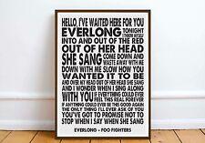 Foo Fighters - 'Everlong' wall art quote poster music lyrics love romance gift