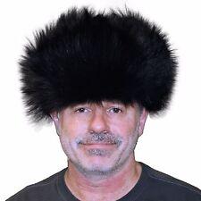 Glacier Wear Coyote Fur Russian Trooper Hat Dyed Black