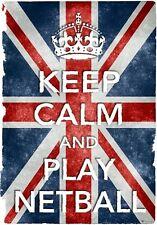 KC28 Vintage Style Union Jack Keep Calm Play Netball Funny Poster Print A2/A3/A4