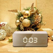 Mirror LED Alarm Clock Night Mode Thermometer Digital Temperature Valentines NEW