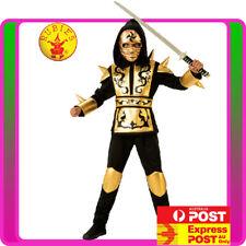 Boys Gold Ninja Kids Costume Japanese Fighter Warrior Martial Dragon Book Week