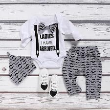 Newborn Infant Baby Boys Gentleman Outfit Clothes Romper Tops+Pants+Hat Set US