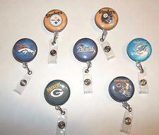 Football Team NFL Retractable ID Name Badge Holder Reel belt clip U Pick