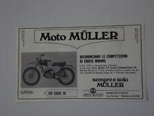 advertising Pubblicità 1970 MOTO MULLER GT CROSS 50 COMPETIZIONE