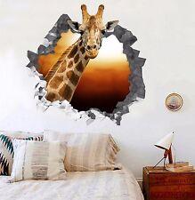 3D Animal Giraffe Wall Murals Stickers Decal breakthrough AJ WALLPAPER US Lemon