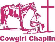 Chaplin Cowgirl Praying Horse Car Truck Window Laptop Vinyl Decal Sticker
