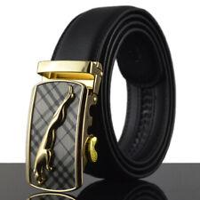 Herren Jaguar Echtes Leder Gürtel Automatik Schnalle Ledergürtel Ratchet Jeans