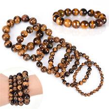 8~12mm Tiger Eye Bracelets Men Natural Stone Beads Charm Bracelet Jewelry Gift