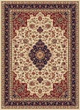 Ivory Medallion Curves Persien Area Rug Oriental Vines Bordered Oriental Carpet