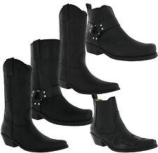 Johnny Bulls Leather Cowboy Western Gusset Harness Ankle Biker Dress Mens Boots