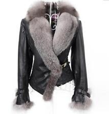 Women's Warm Coat Winter Outwear Big Fur PU Leather Overcoat Jacket Short Parka