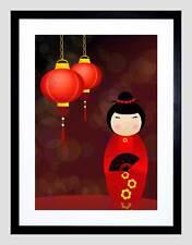 NURSERY KOKESHI DOLL RED DRESS LANTERNS JAPAN KIDS BEDROOM ART PRINT B12X13447