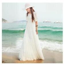 New Boho Women Sundress Beach Summer Maxi Dress Long Chiffon Lace Bohemian Dress