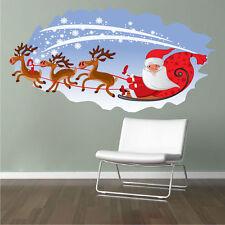 Santa's Sleigh Kid Wall Decal Winter Bedroom Decor Christmas Room Art Vinyl, h34