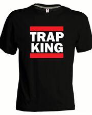Tshirt TRAP KING hip hop rap music run dmc nera bianca cotone uomo ghali