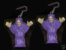 Huge Funky GRIM REAPER EARRINGS Gothic Emo Punk Demon Skeleton Costume Jewelry